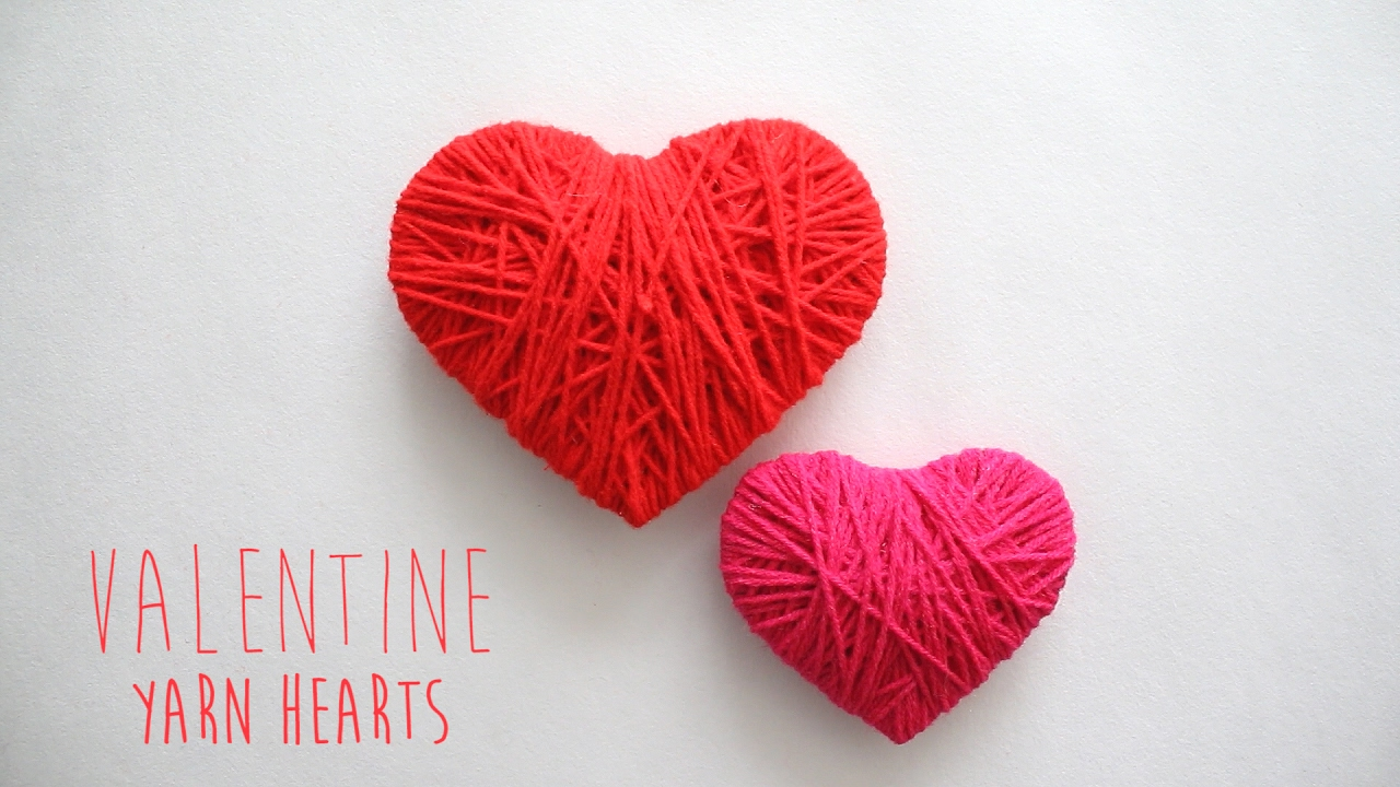 Diy Valentine Yarn Hearts Youtube