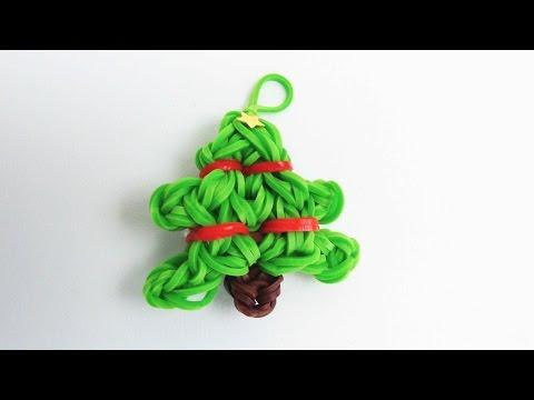 Loom Bands Tannenbaum Charm / Rainbow Loom Christmas Tree Anhänger auf dem Loom Board | deutsch