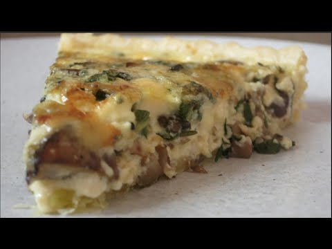 Mushroom Tart (Quiche) With Blue Cheese And Garlic Confit
