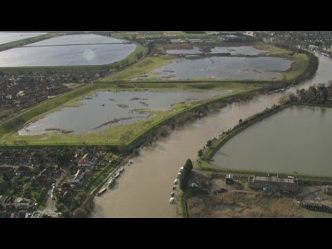 Flooding on the Thames: A helicopter journey along the flood-hit river
