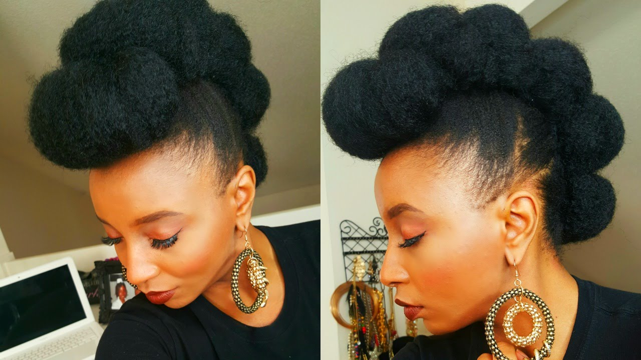 Natural Hair Styles With Marley Hair: Faux Bun Hawk Hairstyle In Less Then Five Minutes ™�