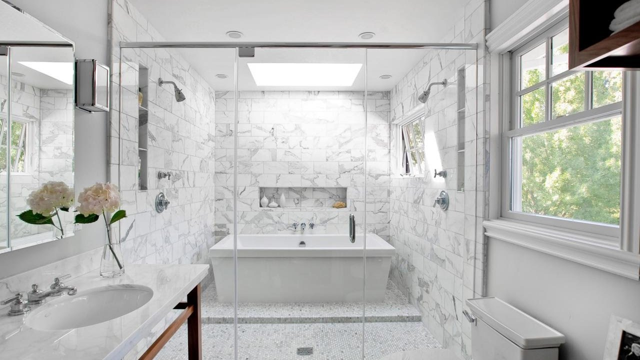 Bathroom White Tiles Dark Grout Designs - YouTube