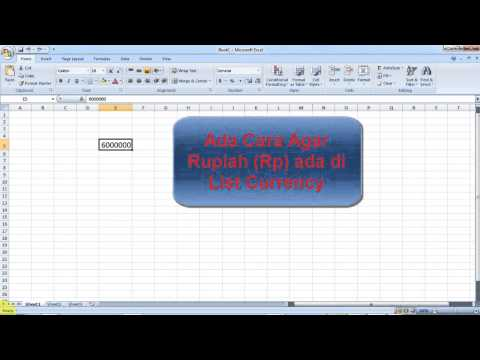 Memunculkan Format Currency Rupiah di List Currency Default Microsoft Excel