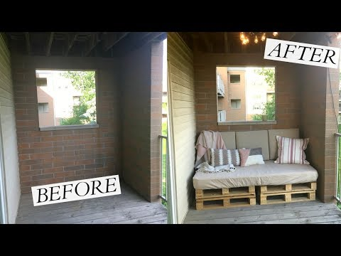 Balcony Makeover w/ DIY Pallet Couch!