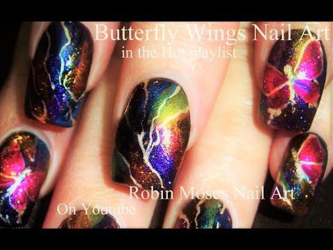 Diy Easy Rainbow Lightning Nails Butterfly Nail Art Design
