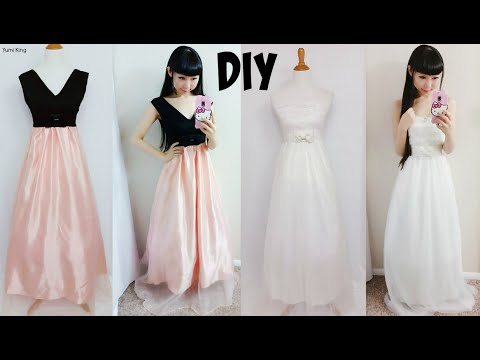 DIY Easy Wedding Dress & Prom Dress from Scratch (Floor Length)| DIY ...