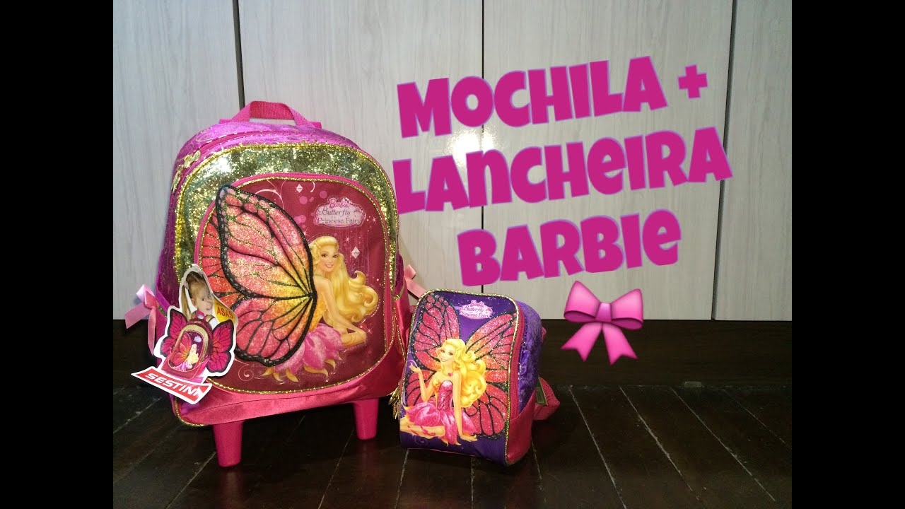 fe8e8481e Mochila de Rodinhas C  Luz + Lancheira Barbie Butterfly - Sestini - Top s  Virtual