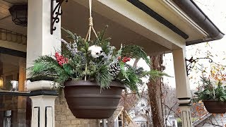 Easy Christmas Hanging Baskets  - Rustic Cozy Farmhouse Style -  Christmas Planters