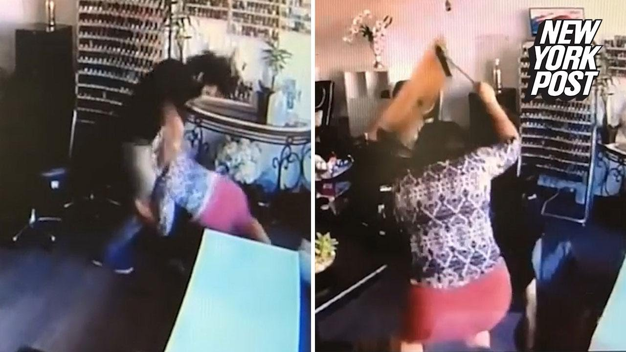 Women use chairs to defend themselves in this nail salon for Salon brawl