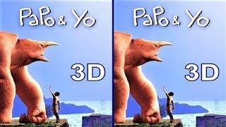 3D TV VR box Papo & Yo video Side by Side SBS google cardboard