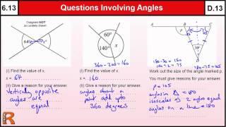 6.13 Questions Involving Angle rules - Basic Maths Core Skills Level 6 / GCSE Grade D