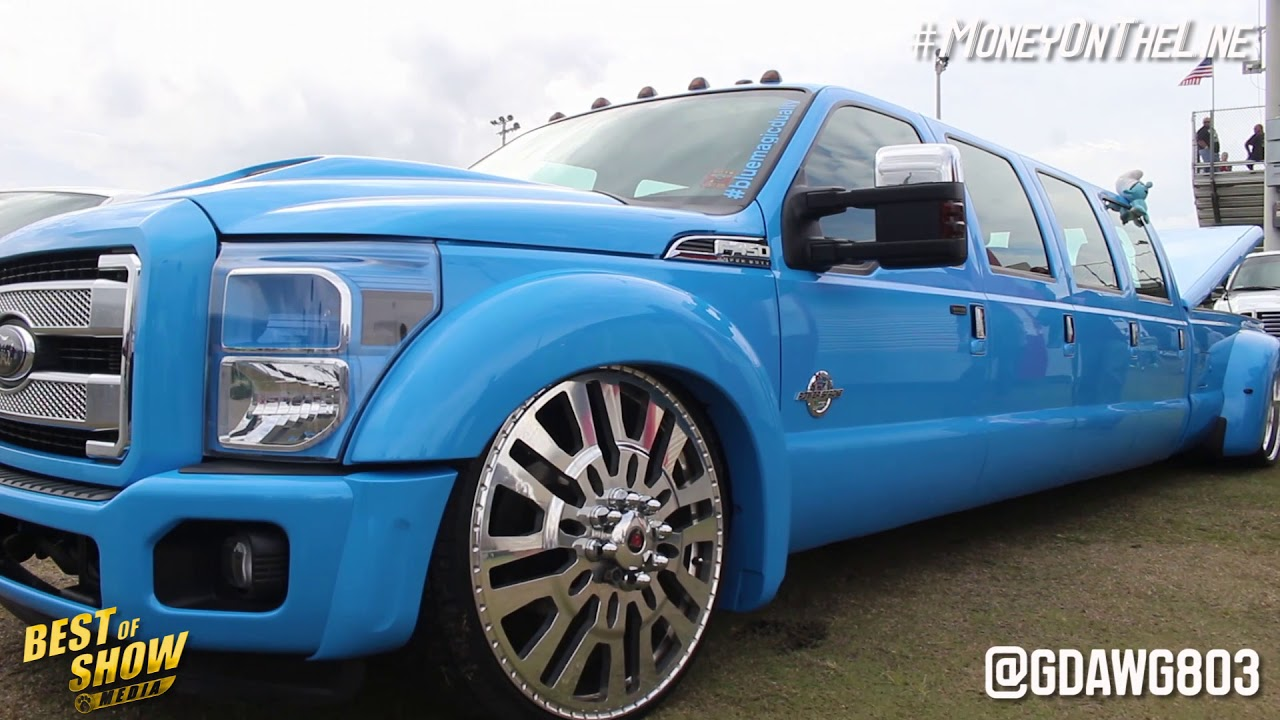 8 DOOR Dually Does DONUTS On 28s! Money On The Line Car Show U0026 Grudge Race