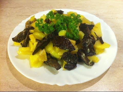 Жареная картошка с грибами (опятами). Заморозка грибов на зиму. Мамулины рецепты.