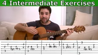 4 Intermediate Fingerstyle Exercise Riffs - Guitar Lesson Tutorial w/ TAB