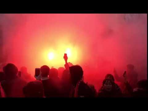 Liverpool fans singing famous 'allez allez allez' chant outside Anfield