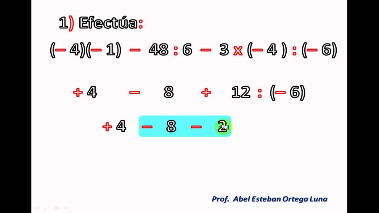 Adición Sustracción Multiplicación Y División De Números Enteros Operaciones Combinadas Youtube
