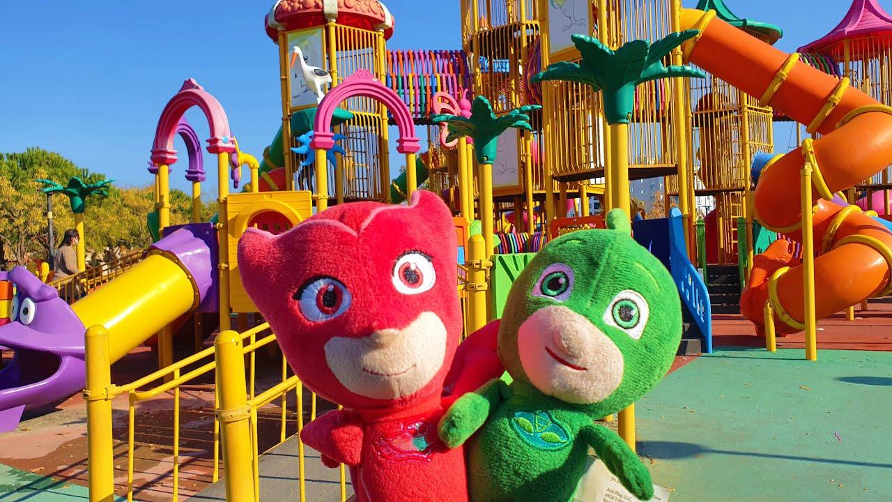 Pijamaskeliler Kalabalık Çocuk Parkında Coştu Kertenkele Gekko ve Baykuş Owlette Kaydırak Eğlencesi