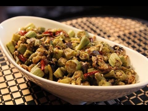 Spicy Okra Indian Vegetarian Recipes Easy Indian Recipes Youtube