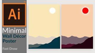 Minimal Landscape Artwork For Wall Decoration Design In Adobe Illustrator Cc