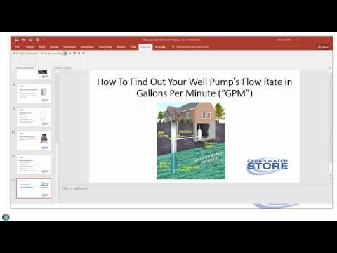 Find out what my well pump flow rate is in gallons per minute