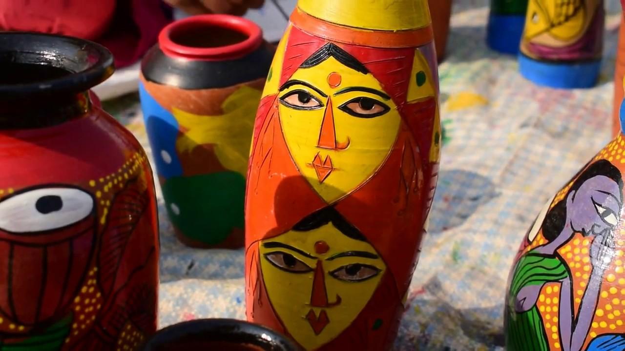 Male Female Painter At Handicraft Fair 2018 Eco Park New Town