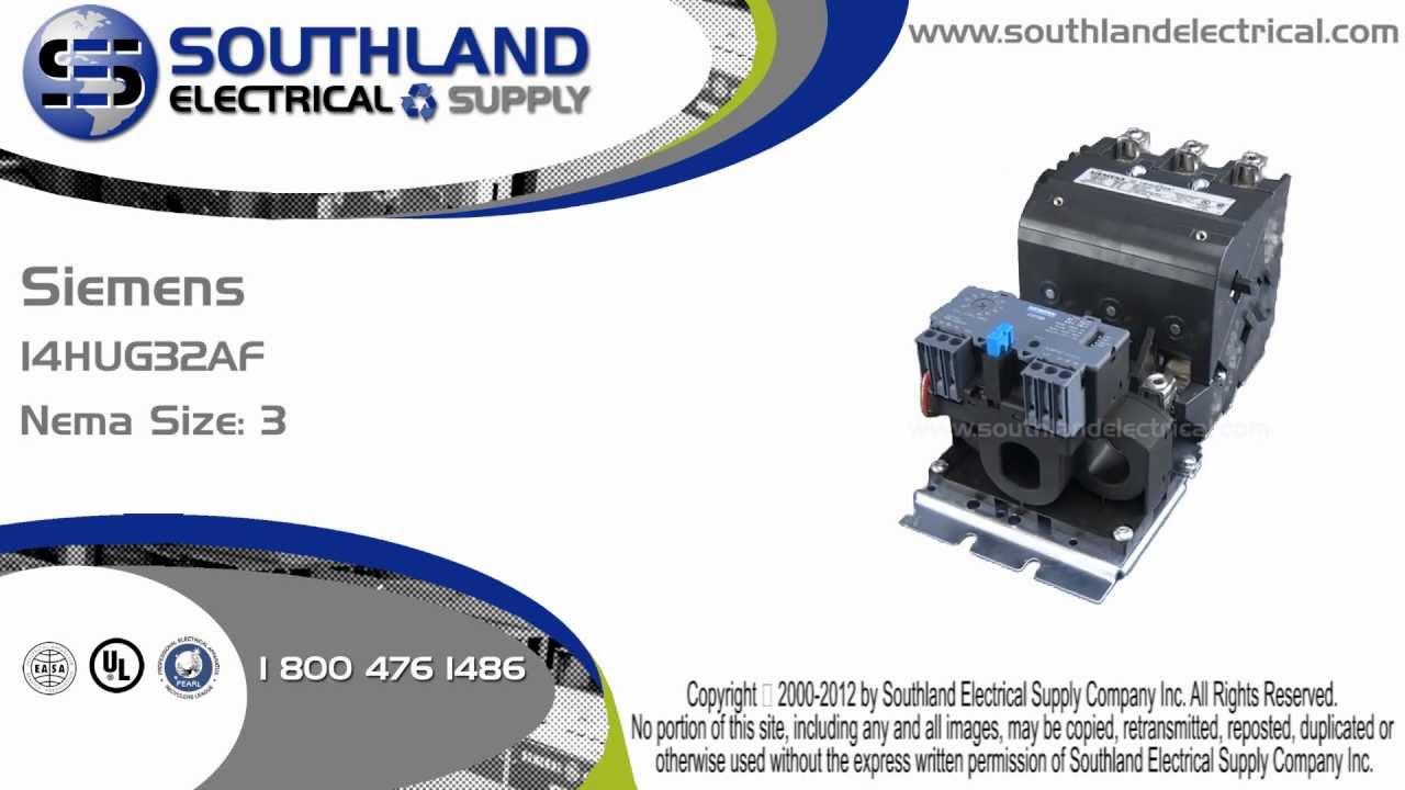 Furnas siemens 14hug32af nema size 3 magnetic motor for Siemens magnetic motor starter
