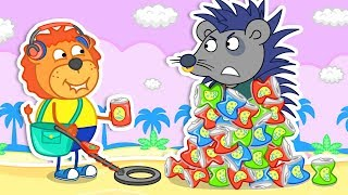 Lion Family 🎇 Garbage In The Sand Found by Metal Detector Cartoon For Kids