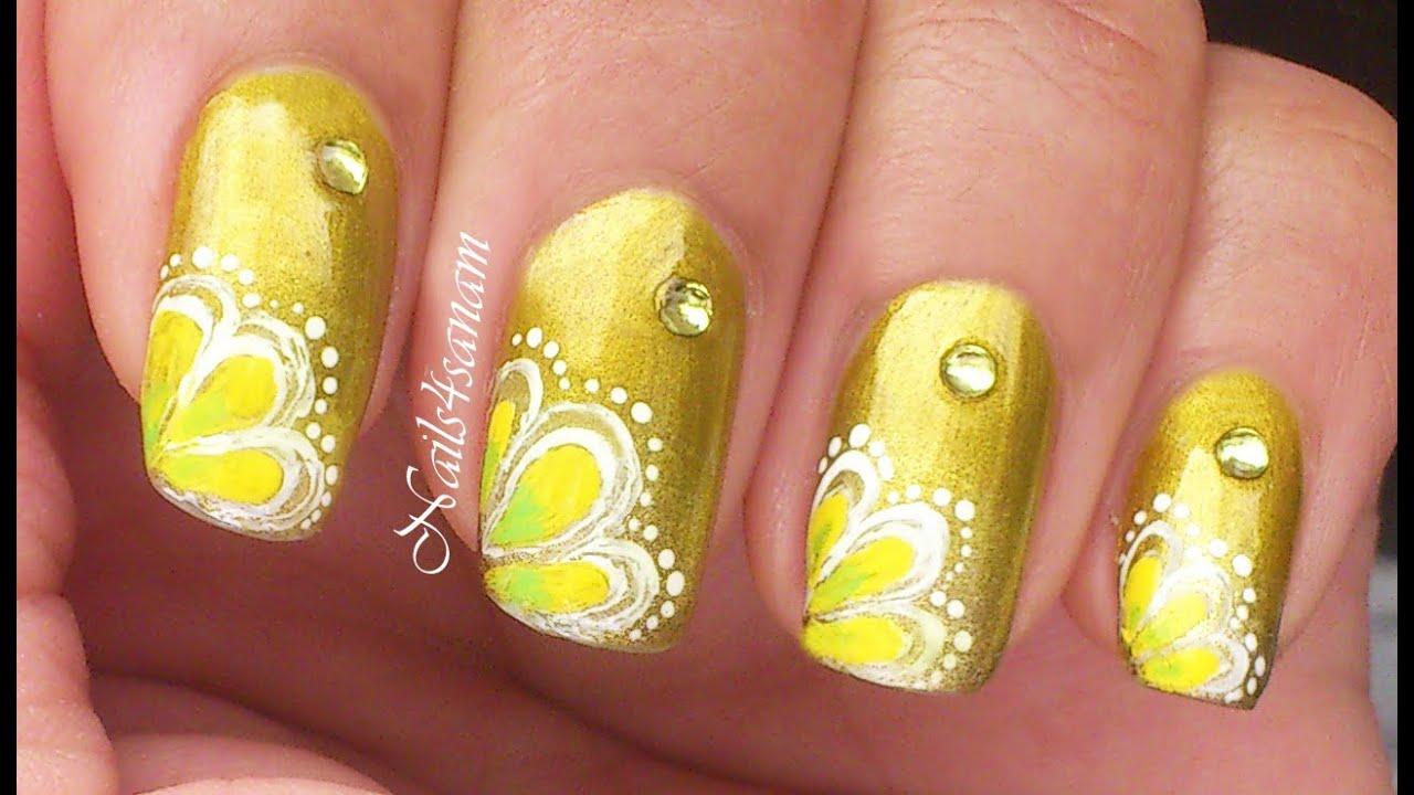 Nail art tutorial | Yellow flower nail art - YouTube