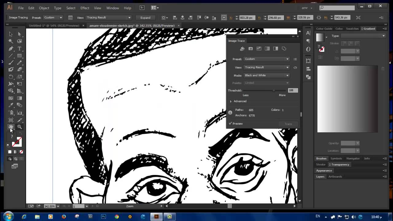 Vector Line Art Converter : Converting your drawing sketch into a vector using trace in