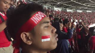 MERINDING!!! Lagu indonesia raya berkumandang pada saat INDONESIA VS QATAR