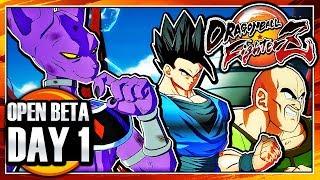 Dragon Ball FighterZ OPEN BETA ENGLISH DUB - DAY 1 - Team Beerus, Ultimate Gohan, Nappa Gameplay