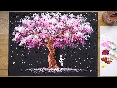 'Tree of Stars' Teknik Lukisan Akrilik # 345