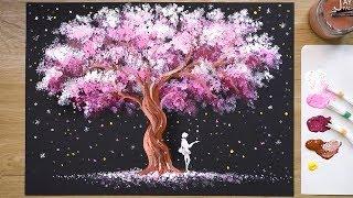 'Tree of Stars' Acrylic Painting Technique #345