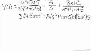 Laplace Transforms: Partial Fractions (Imaginary Roots)