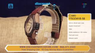 casio ft500wvb 5b men s forester sports beige dial tan resin watch review video