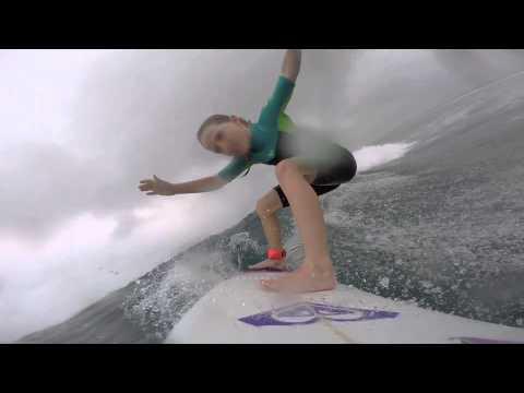 Sierra Kerr surfing Fiji Pro 2015. Girl surfer age 8. Josh Kerr daughter Sierra