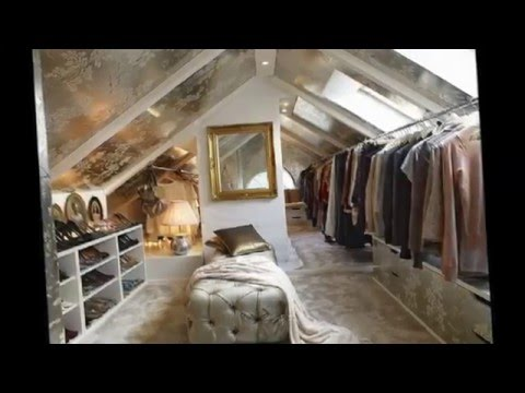 Варианты гардеробных на чердаке