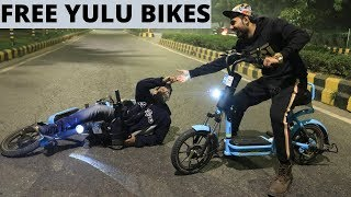 Nightout On Yulu Bikes - Free Bike Rent Tricks😱