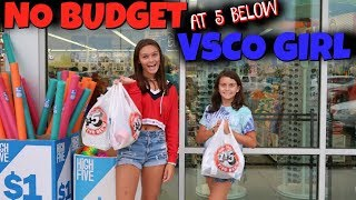 💰NO BUDGET CHALLENGE & VSCO GIRL CHALLENGE at 5 BELOW! 🏧Emma and Ellie