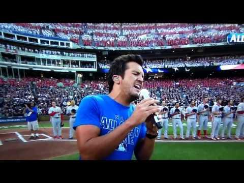 Luke Bryan singing national anthem