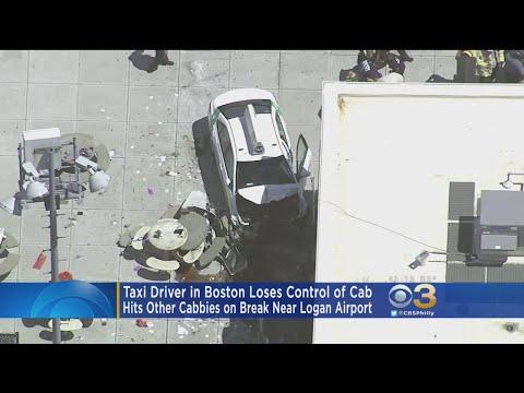 Taxi Driver Loses Control At Boston Airport
