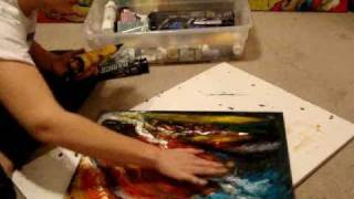 acrylic finger painting late night mind chatter