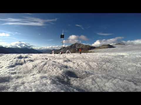 Raising  meteorological tower, Bologna Glacier, Nahanni National Park