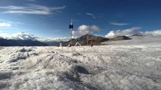 Raising  meteorological tower, Bologna Glacier, Nahanni National Park