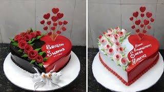 Amzing Two Heart Shape Cake Design Heart Shape Red Colour Flowers Decorating ideas making