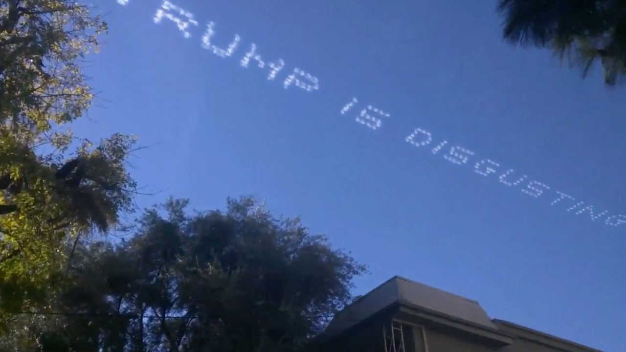Skywriters have message for Trump at Rose Parade