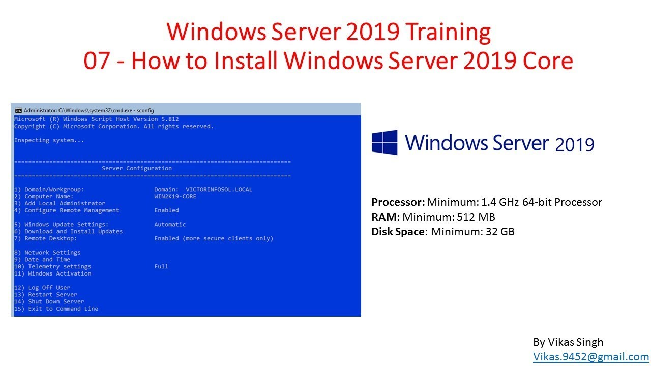 Windows Server 2019 Training 07 - How to Install Windows Server 2019 Core