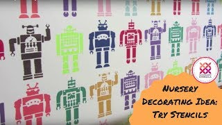 "Nursery Decorating Ideas with ""Robots Allover Wall Stencil"""