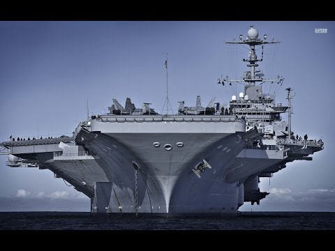 US Navy Ship / American Aircraft Carrier Truman In Action