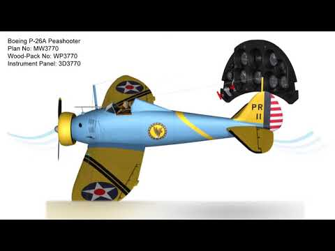 Boeing P-26A Peashooter RC Plan & Wood-Pack